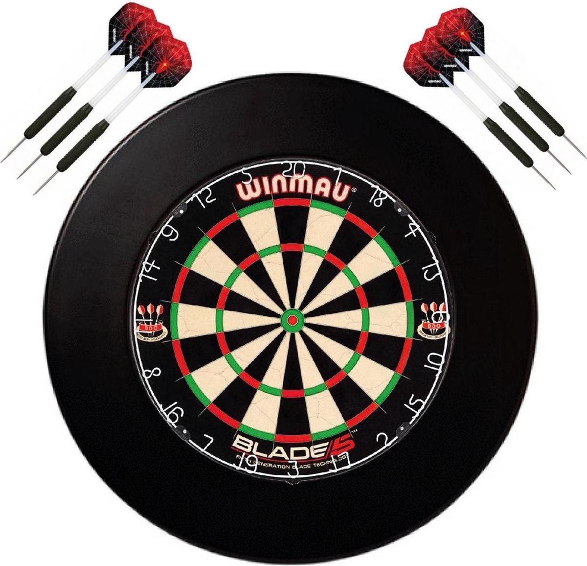 Winmau set - Winmau Blade 5 - dartbord - plus surround ring zwart - plus 2 sets - dartpijlen