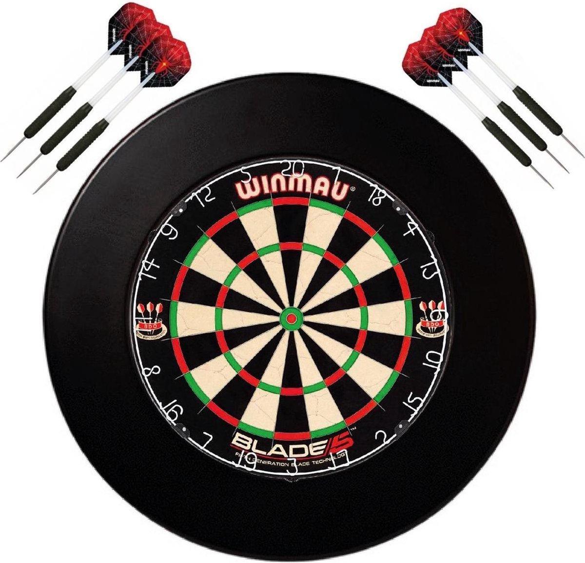Winmau set - Winmau Blade 5 - dartbord - plus surround ring zwart - plus 2 sets - dartpijlen