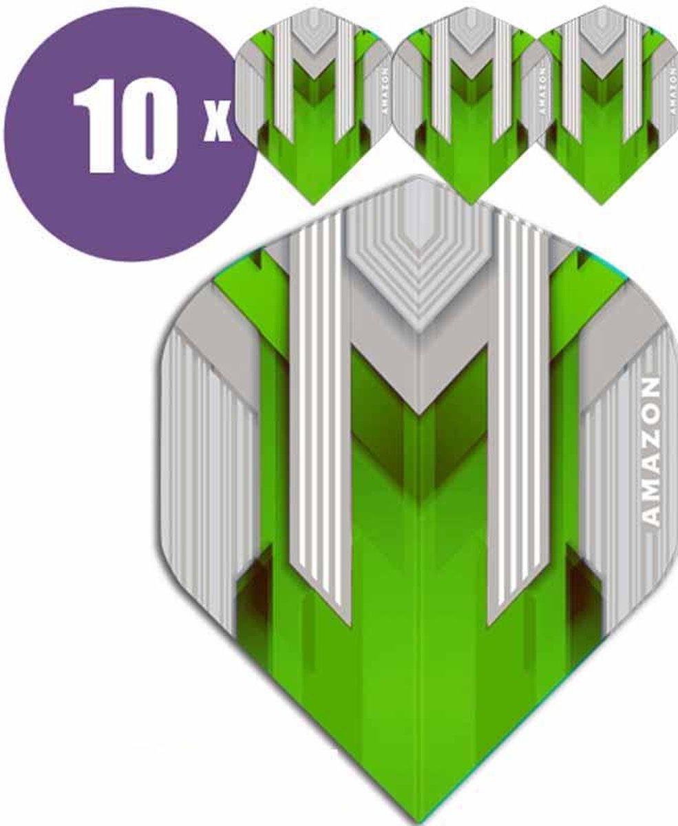 ABC Darts Flights - Amazon silver Groen - 10 sets (30 st.) Dart Flights