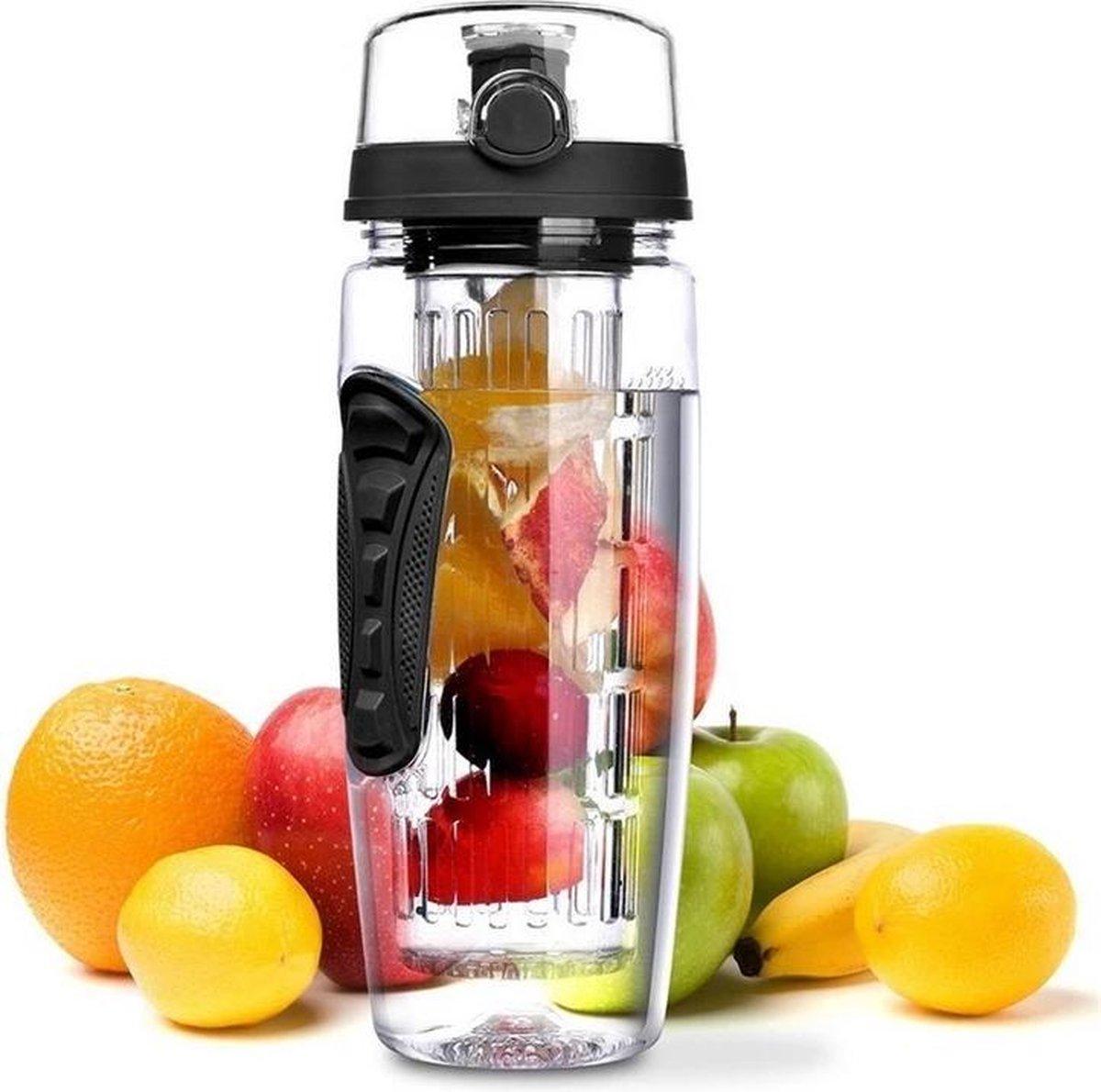 Waterfles met Fruit Infuser - 900ml- 100% BPA Vrij - Zwart - Sportfles - Detox Waterfles-Waterfles m