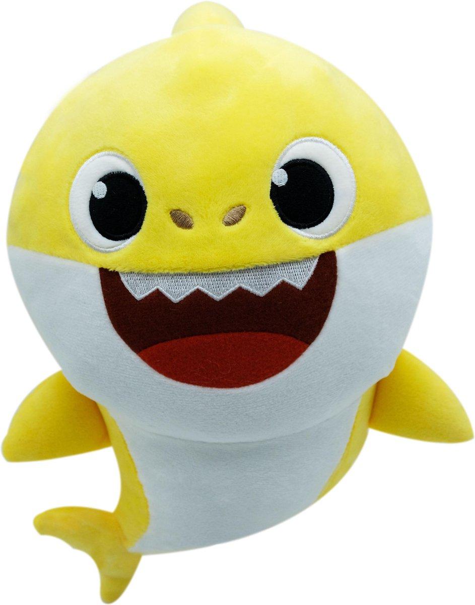 Baby Shark Geel Pluche Knuffel 30 cm | Originele Baby Shark Pinkfong Plush + Geluid met Baby Shark liedje |Incl. Batterijen