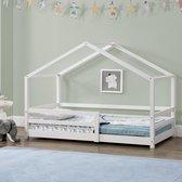 Kinderbed huisbed met uitvalbeveiliging 90x200 wit