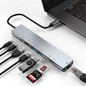 Qost USB-C hub - 8 in 1 adapter - Grijs
