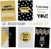 Kimago.nl - wenskaarten - kaartenset - ansichtkaarten - Verjaardag - hip - 6 stuks