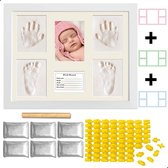 AWEMOZ® Grote Baby Fotolijst – Gipsafdruk Baby – Kraamcadeau – Baby Art - 3D Collage – Extra klei, letters, cijfers & roller