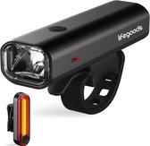 LifeGoods LED Fietsverlichting Set - USB Oplaadbaar - Zwart