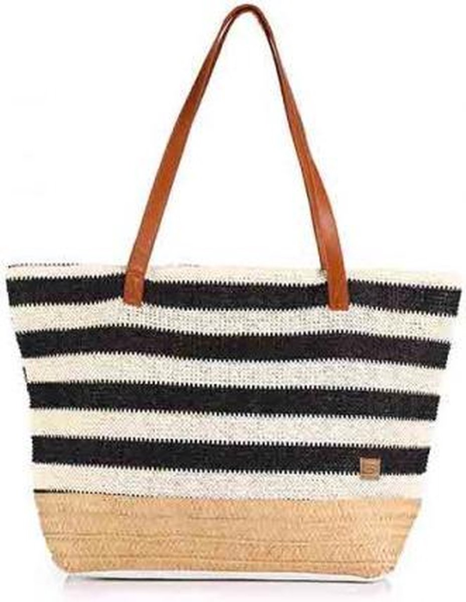 Zwart creme gestreepte beach shopper/strandtas