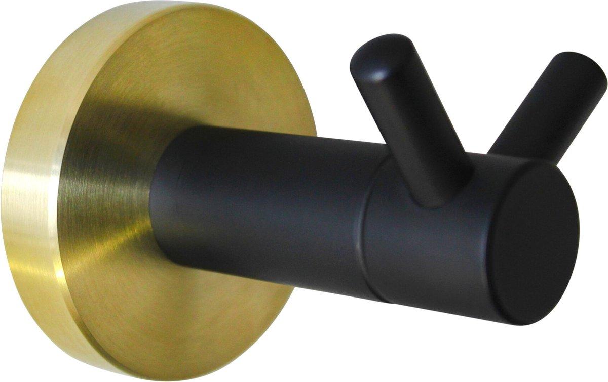 Handdoekhaakjes - Handdoekhaak Zwart - Wandhaak - Badkamer - Zwart met Geborsteld Goud - RVS - 2 Jaar Garantie - Brushed Gold Collectie - 4cm x 7cm
