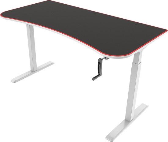 Bureau gaming Thomas - computertafel - zit sta in hoogte verstelbaar - 160 cm x 80 cm - wit zwart
