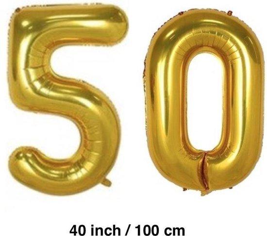 Folie-ballonnen cijfers 50 in GOUD van 40 INCH / 100 CM  (31270)