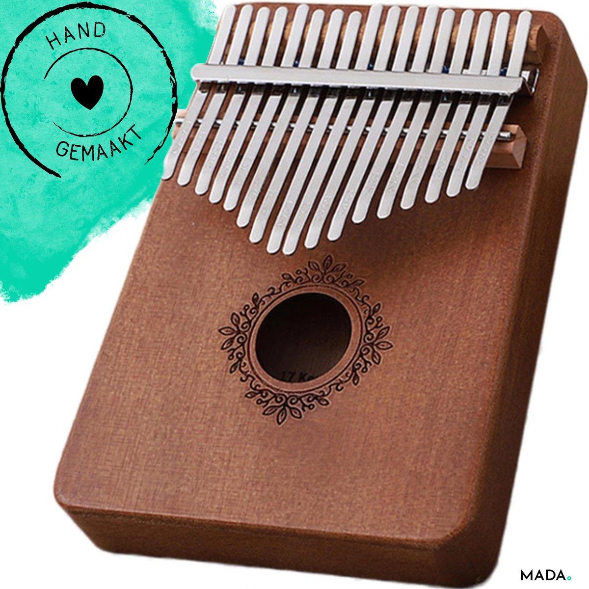 Handgemaakte kalimba / duimpiano - 17 tonen - Kalimba muziekinstrument - Complete set incl. opbergta