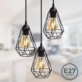 B.K.Licht retro hanglamp - 3-lichts - zwart - Ø165mm - lengte: 110cm