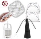 Anti-vliegen Voordeelpakket | Elektrische vliegenmepper met oplader| 2x Vliegenkap wit | Vliegenverjager | FLYSTOPPER