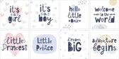Geboortekaarten - Set van 8 x geboortekaart - 14 cm x 14 cm - Inclusief envelop
