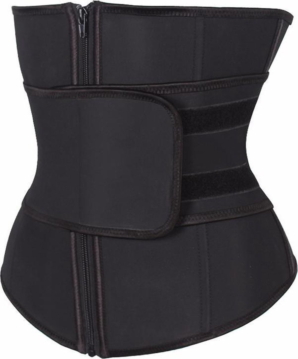 Premium Chibaa 'Waist Plus' sport waisttrainer Zwart Neopreen / nylon 7 stalen baleinen - Large