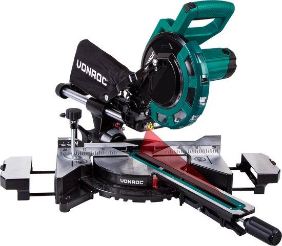 VONROC Afkortzaag – 2000W – Ø216MM – 40 tands zaagblad – Kap-en verstekzaag – Incl. laser & LED