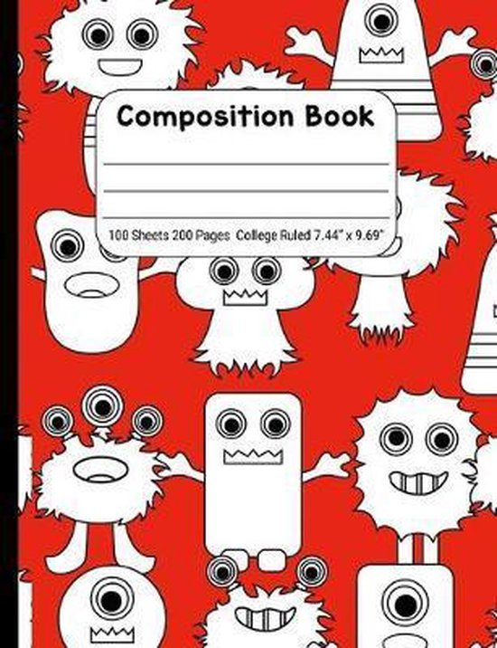 Composition Book College Rule: Journal Notebook for School Home or Work, White Monsters on Red