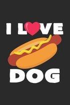 I love dog: 6x9 Hotdog - grid - squared paper - notebook - notes