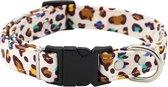Halsband hond - verstelbaar - motief - katoen - leopard - luipaard - beige / geel / blauw / groen / zwart - stevig - katoen - 25/37 x 2 cm