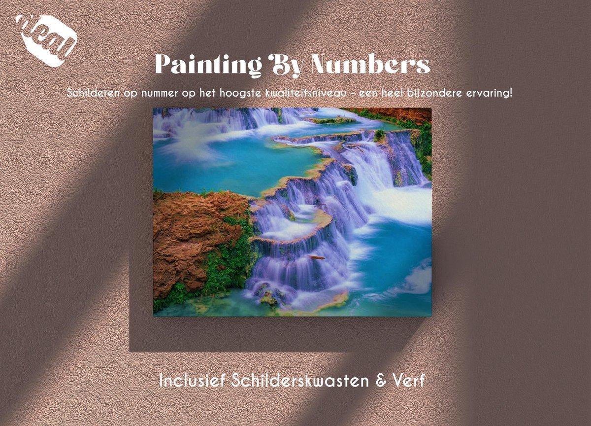 Deal Diamond Painting Schilderen Op Nummer Voor Volwassenen Inclusief Lijst, Canvas, Schilderskwasten & Verf - 40 x 50 cm - Waterfall