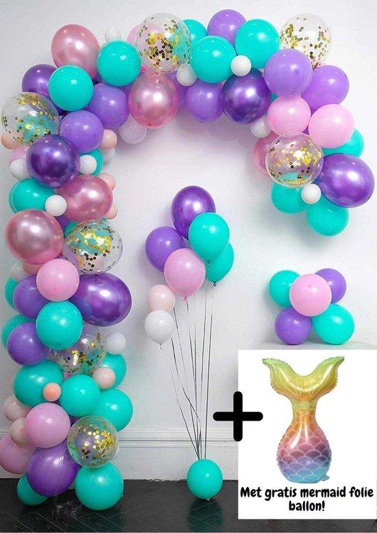 Zeemeerminnen Ballonnenboog van 99 ballonnen met pomp en ophanghaakjes - Ballonnen - DIY - Mermaid - Themafeest - Roze - Paars - Goud - Verjaardag Versiering -  Kinderfeest - 5 Meter - Babyshower - 1 Jaar - Decoratie - Ballonboog - Ballon