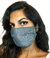 Glitter mondkapje wasbaar | zwart | met katoen | mondmasker | maat S