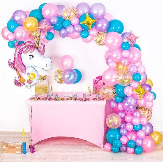 Unicorn Ballonnenboog van 128 Ballonnen met Pomp en Ophanghaakjes- DIY - Ballonnen - Roze - Paars - Turquoise - Goud - Verjaardag Versiering - Feest - 5 Meter - Babyshower - Decoratie - Ballonboog -