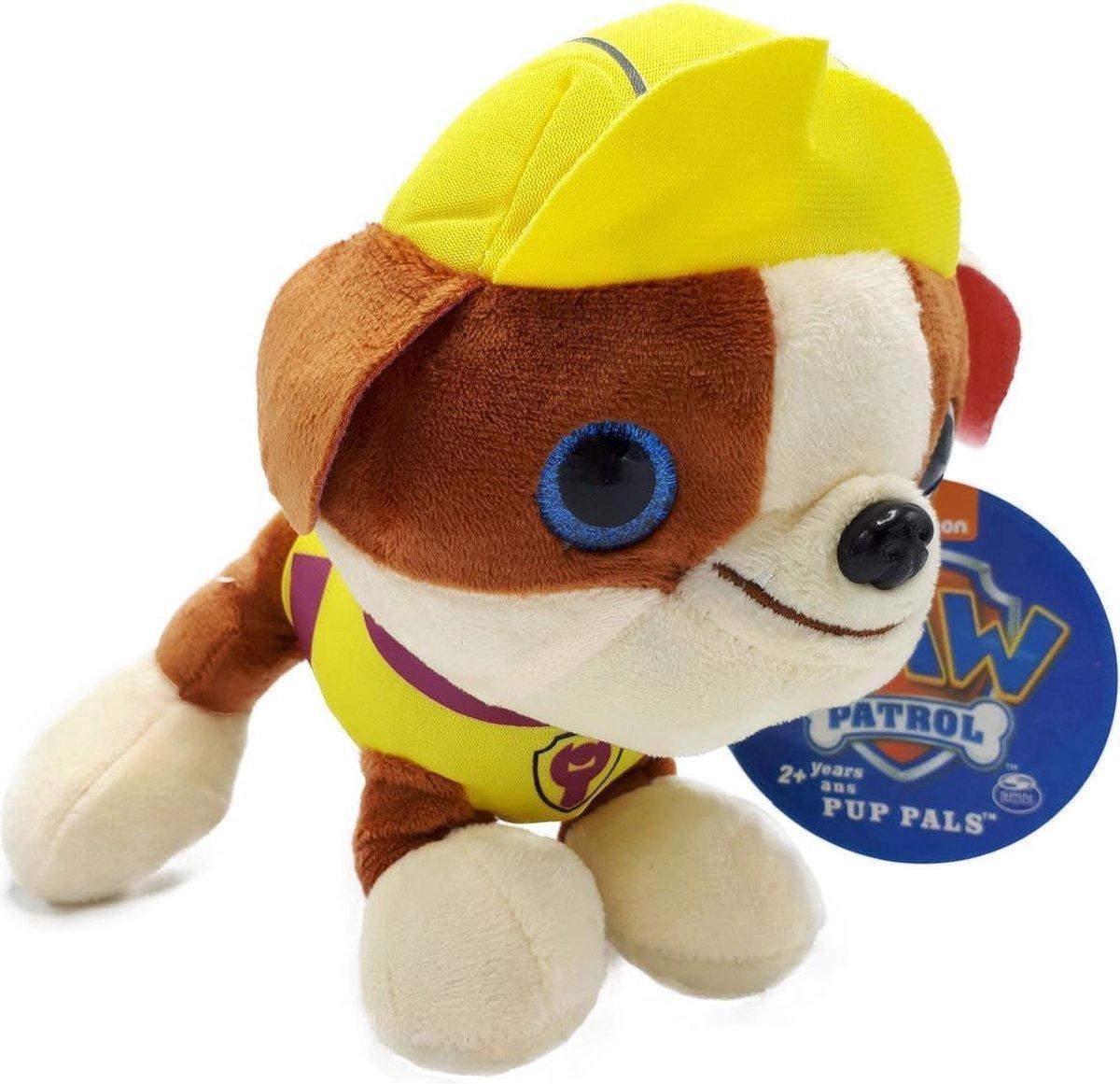 PAW Patrols - Pup Pals Rubble - Pluche Knuffel 26 cm | Paw Patrol & Friends | Chase - Rubble - Marshall - Skye - Zuma - Rocky - Ella - Tuck | Nickelodeon | Speelgoed