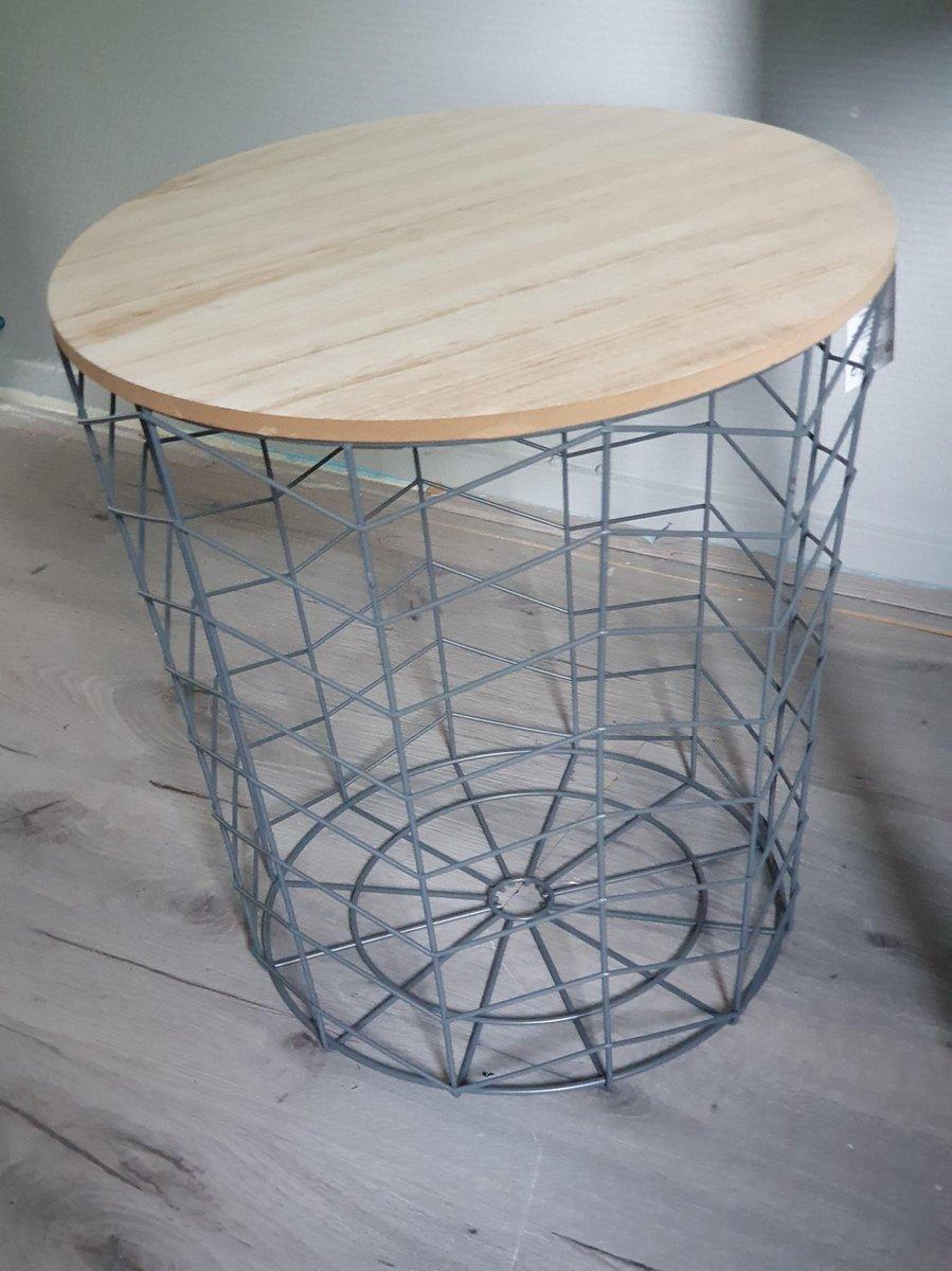 Metaal houten bijzettafel grijs - Merkloos