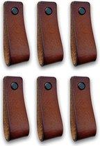 Leren handgrepen - Cognac - 6 stuks - 16,5 x 2,5 cm | incl. 3 kleuren schroeven per leren handgreep