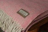 Lombarda Plaid 130x175 - roze - Kitchen Trend Visgraatmotief - Italiaans kwaliteitsproduct