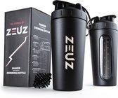 ZEUZ® Premium RVS Shakebeker – Proteïne Shaker – Shake Beker - BPA Vrij – 700 ml - Mat Zwart