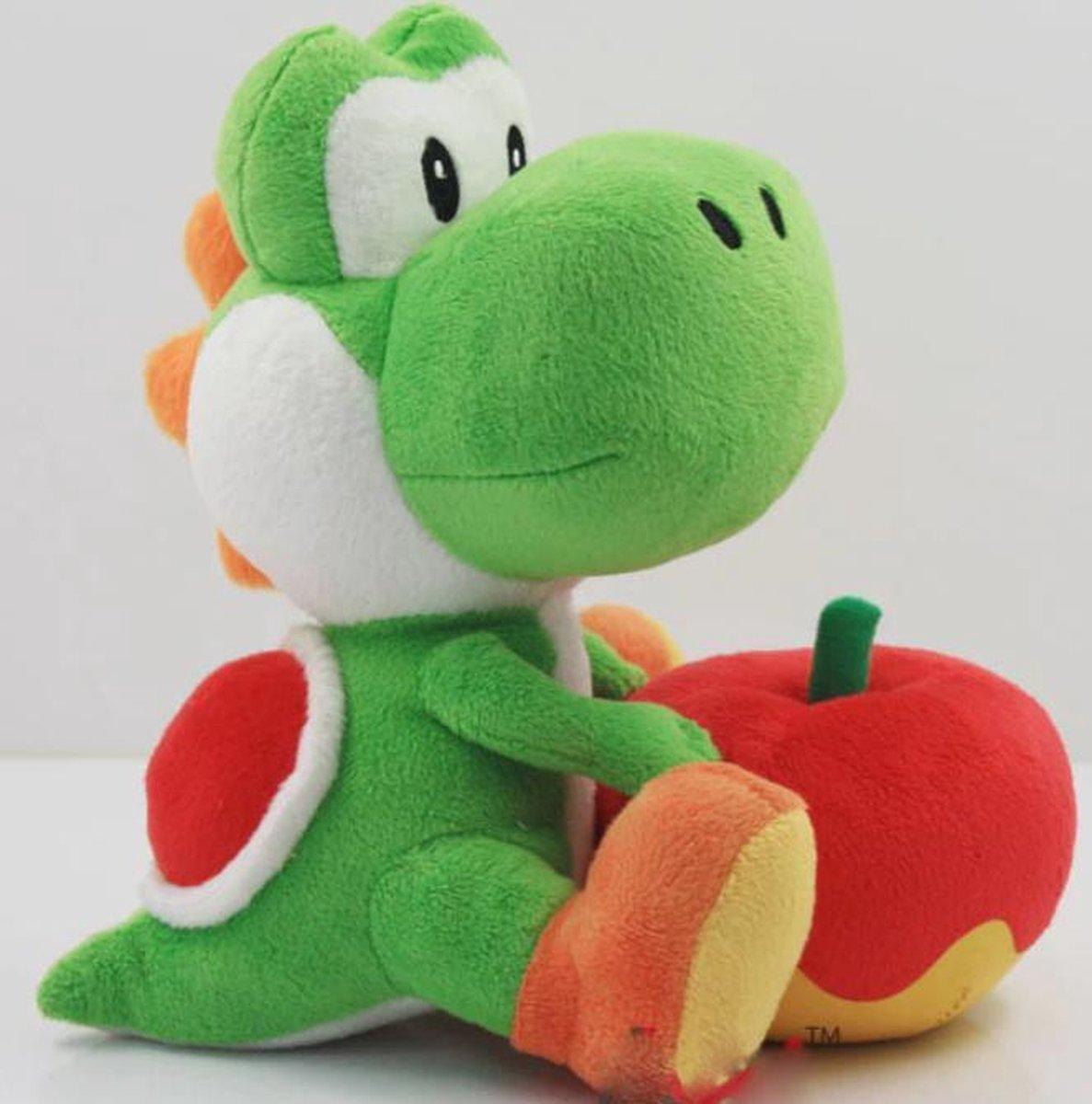 Plushe Yoshi zittend met appel knuffel 20cm - Nintendo - Super Mario bros
