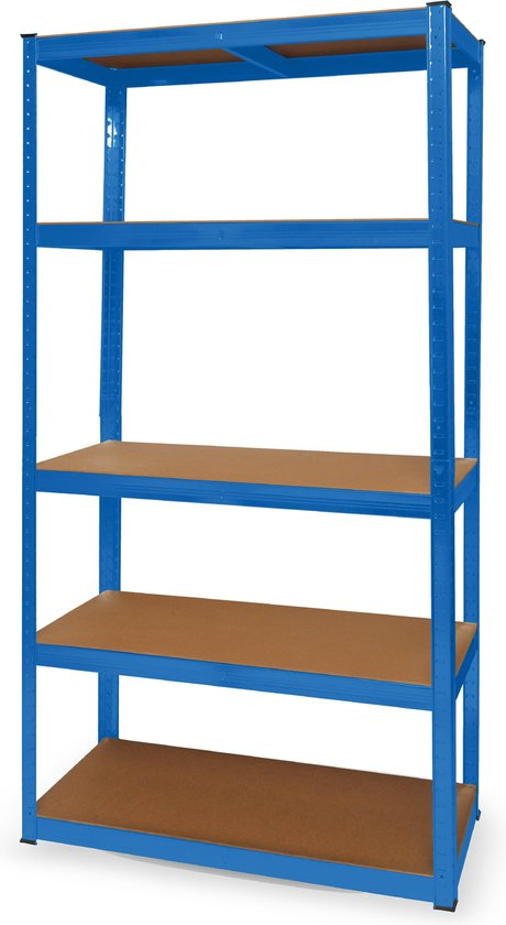 LifeGoods Stellingkast - 5 Legplanken - 175kg per Plank - 90x40x180 cm - Metaal / MDF - Blauw