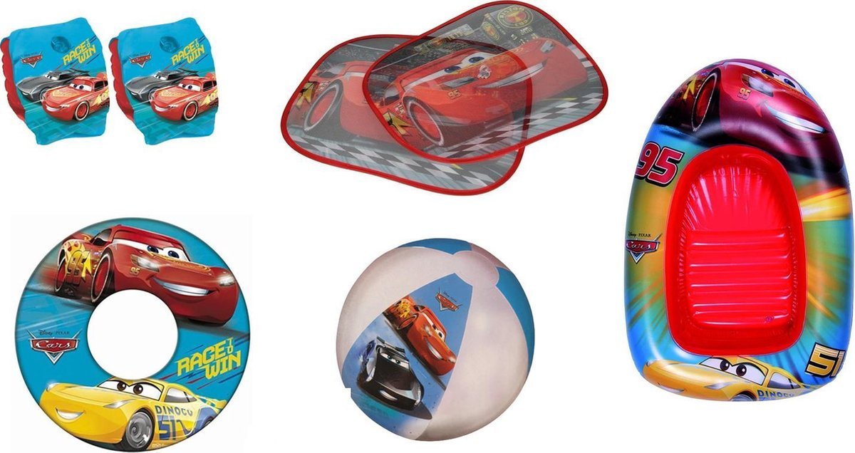 Cars Zomerpakket | Funpakket | Zomerspeelgoed | Zwemband | Zwembandjes | Strandbal | Opblaasboot 102 x 69CM! | 5-in-1 | Waterpret | 2x Zonnescherm | Jongens | Boys