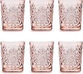 Libbey Drinkglas Hobstar Coral Pink – 355 ml/ 35,5 cl - 6 stuks - vintage design - vaatwasserbestendig - hoge kwaliteit