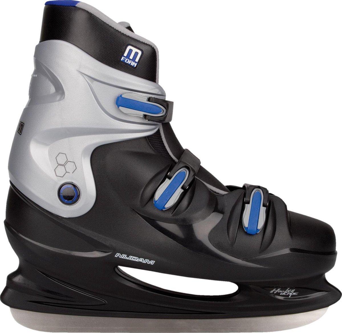 Nijdam IJshockeyschaats XXL - Hardboot - Zwart/Zilver/Blauw - 48