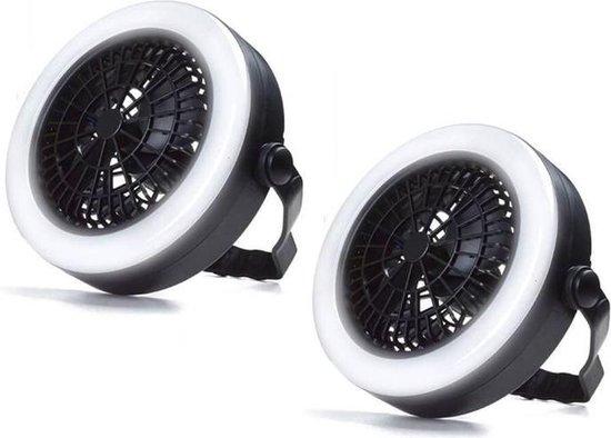 Benson Ventilator met LED Verlichting - 2 Stuks - Met Haak Om Te Bevestigen Aan Plafond Of Tent