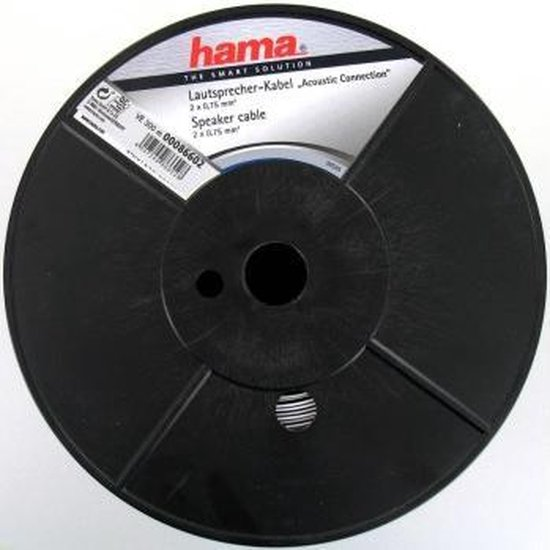 "Hama Luidspreker kabel ""Acoustic"" 2x1.5mm², Min.ord.qty/qty 200m, Wit"