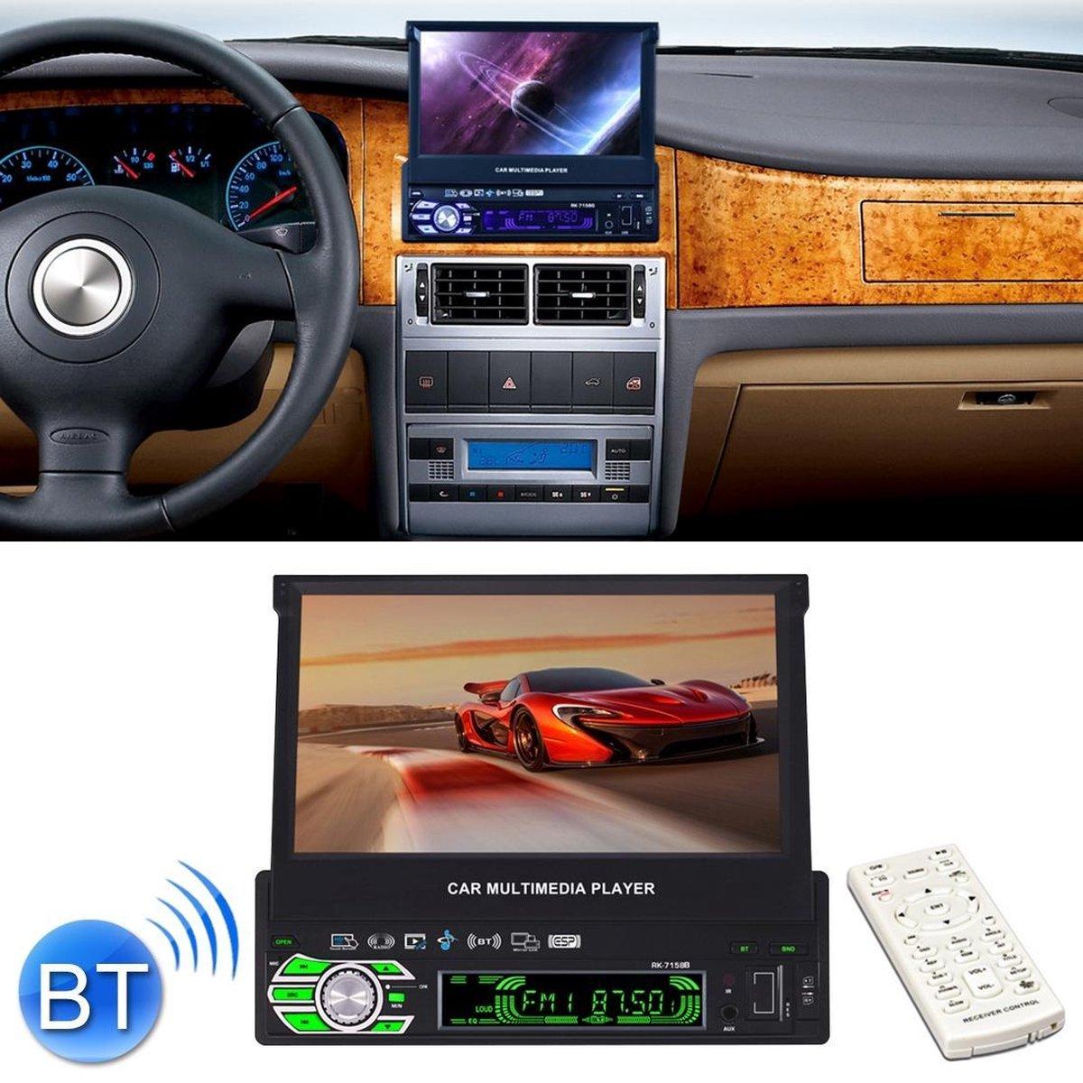 RK-7158B Enkelvoudig automatisch intrekbaar scherm 7 inch 1080P HD autoradio radio MP5 FM-speler In-Dash hoofdunit, met Bluetooth / AUX / Achteraanzicht