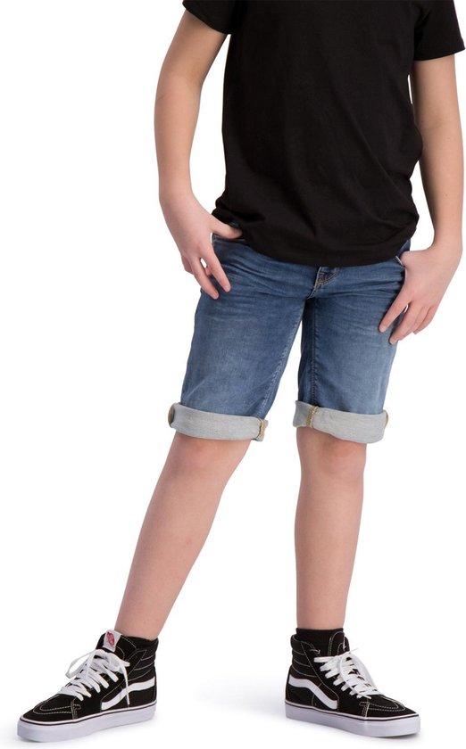 Korte spijkerbroek heren jog jeans blauw met elastiek