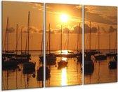 Canvas schilderij Boot   Geel, Zwart, Wit   120x80cm 3Luik