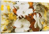 Glasschilderij Bloem | Wit, Bruin, Geel | 120x70cm 1Luik | Foto print op Glas |  F003171