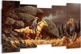 Canvas schilderij Paard   Bruin, Geel, Grijs   150x80cm 5Luik