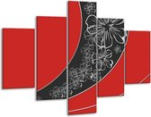 Glasschilderij Art   Rood, Zwart   100x70cm 5Luik   Foto print op Glas    F005714