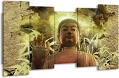 Canvas schilderij Boeddha   Groen, Bruin   150x80cm 5Luik