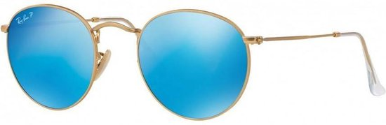 Ray Ban RB3447N 0019O Round (Flat Lenses) zonnebril Goud Lichtblauw Gradiënt Flash 50mm