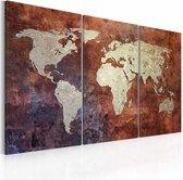 Schilderij - Wereldkaart - Roestige kaart van de Wereld, Roestige Look, 3luik , premium print op canvas