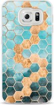 Samsung Galaxy S6 hoesje Honeycomb Art Blue Casetastic Smartphone Hoesje softcover case