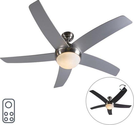 QAZQA Cool 52 Plafondventilator met lamp - 2 lichts - Ø130cm - Staal